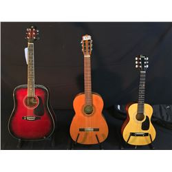 3 GUITARS: VINTAGE SUZUKI NYLON STRING GUITAR, MADE IN NAGOYA, JAPAN, MIRAGE ACOUSTIC GUITAR, AND
