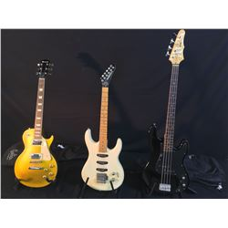 3 GUITARS: EPIPHONE P-BASS STYLE BASS GUITAR WITH SOFT SHELL CASE, WASHBURN ELECTRIC GUITAR WITH