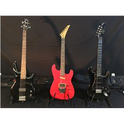 3 GUITARS: PROFILE STRAT STYLE ELECTRIC GUITAR WITH BRIDGE POSITION HUMBUCKER PICKUP AND SOFT SHELL