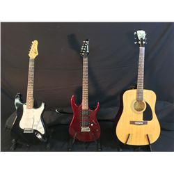 3 GUITARS: FENDER MODEL FA-100 ACOUSTIC GUITAR WITH SOFT SHELL CASE, IBANEZ EX SERIES ELECTRIC