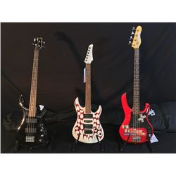 3 GUITARS: WASHBURN P-BASS STYLE 4 STRING BASS GUITAR WITH SOFT SHELL CASE, NO NAME ELECTRIC GUITAR
