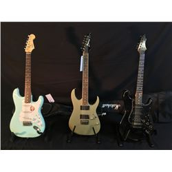 3 GUITARS: IBANEZ RG SERIES ELECTRIC GUITAR WITH TWO HUMBUCKER PICKUPS, ROCKER SPECIAL STRAT STYLE