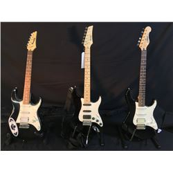3 GUITARS: YAMAHA MODEL EG112 STRAT STYLE ELECTRIC GUITAR WITH BRIDGE POSITION HUMBUCKER PICKUP AND