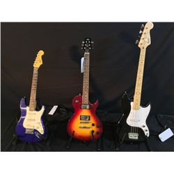3 GUITARS: SQUIER BRONCO 4 STRING BASS GUITAR WITH FENDER SOFT SHELL CASE, PEAVEY SC-2 CONTOURED
