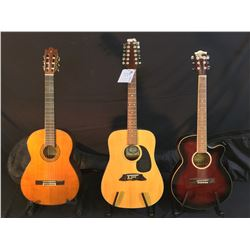 3 GUITARS: GK CUTAWAY ACOUSTIC/ELECTRIC GUITAR WITH SOFT SHELL CASE, PROFILE MODEL PA-12 12 STRING