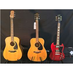 3 GUITARS: EPIPHONE SG STANDARD GUITAR IN HERITAGE CHERRY, WITH SOFT SHELL CASE, VINTAGE YAMAHA
