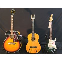 3 GUITARS: VINTAGE TAKAMINE MODEL G126 NYLON STRING GUITAR, MADE IN JAPAN, SAMICK STRAT STYLE