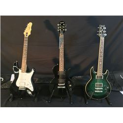 3 GUITARS: EPIPHONE STRAT STYLE ELECTRIC GUITAR WITH BRIDGE HUMBUCKER PICKUP, VIBRATO BRIDGE AND