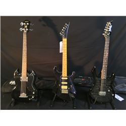 3 GUITARS: IBANEZ GIO STRAT STYLE GUITAR WITH TWO HUMBUCKER PICKUPS, VIBRATO BRIDGE AND SOFT SHELL