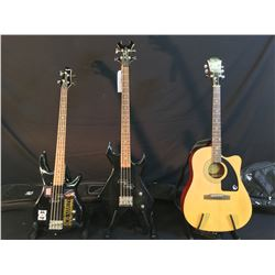 3 GUITARS: EPIPHONE MODEL AJ-100CE ACOUSTIC GUITAR WITH SOFT SHELL CASE, BC RICH BRONZE SERIES