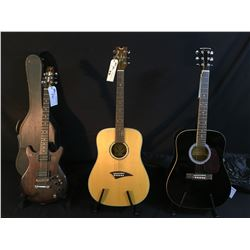 3 GUITARS: DEAN TRADITION S GN ACOUSTIC GUITAR, MANSFIELD MD-100 ACOUSTIC GUITAR WITH SOFT SHELL