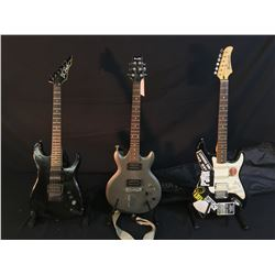 3 GUITARS: IBANEZ GIO DOUBLE CUT LES PAUL STYLE GUITAR, WITH TWO HUMBUCKER PICKUPS AND DROP-D