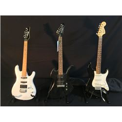 3 GUITARS: BC RICH BRONZE SERIES MOCKINGBIRD GUITAR WITH TWO HUMBUCKER PICKUPS, IBANEZ GIO STRAT