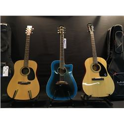 3 GUITARS: GK MODEL W255 ACOUSTIC GUITAR WITH SOFT SHELL CASE, BC RICH MODEL BW-500 CUTAWAY