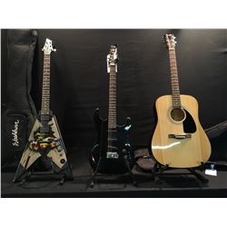 3 GUITARS: FENDER MODEL FA-100 ACOUSTIC GUITAR, NO NAME STRAT STYLE ELECTRIC GUITAR, AND WASHBURN V