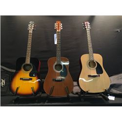 3 GUITARS: FENDER FA-100 ACOUSTIC GUITAR WITH SOFT SHELL CASE, TRADITION MODEL W66 ACOUSTIC GUITAR,