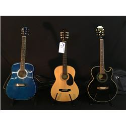 3 GUITARS: EPIPHONE MODEL PR5EEB CUTAWAY ACOUSTIC/ELECTRIC GUITAR WITH SOFT SHELL CASE, HOHNER