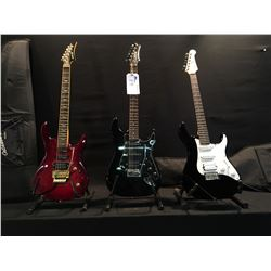 3 GUITARS: YAMAHA PACIFICA STRAT STYLE ELECTRIC GUITAR WITH BRIDGE POSITION HUMBUCKER AND SOFT