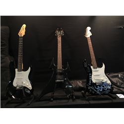 3 GUITARS: SQUIER STRAT WITH SOFT SHELL CASE, BC RICH BEAST MODEL ELECTRIC GUITAR WITH TWO