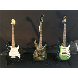 3 GUITARS: VANTAGE STRAT STYLE GUITAR WITH BRIDGE POSITION HUMBUCKER AND SOFT SHELL CASE, VANTAGE