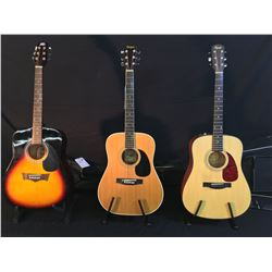 3 GUITARS: SQUIER SD-6 ACOUSTIC GUITAR WITH SOFT SHELL CASE, EL DEGAS MODEL MT-13 ACOUSTIC GUITAR,