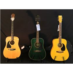 3 GUITARS: VEGAS ACOUSTIC GUITAR WITH SOFT SHELL CASE, WASHBURN D-10M ACOUSTIC GUITAR, AND BC RICH