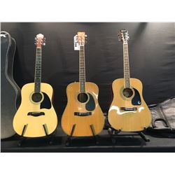 3 GUITARS: EPIPHONE DR 90 ACOUSTIC GUITAR WITH SOFT SHELL CASE, FENDER F-65 ACOUSTIC/ELECTRIC