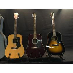 3 GUITARS: OAKLAND & CO. MODEL WG 100 ACOUSTIC GUITAR, MADE IN JAPAN, WITH HARD SHELL CASE,