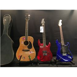 3 GUITARS, 1 BROKEN: SQUIER STRAT ELECTRIC GUITAR, SAMICK SINGLE HUMBUCKER, VOLUME CONTROL ONLY