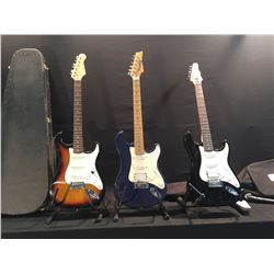 3 GUITARS: IBANEZ STAGESTAR STRAT STYLE ELECTRIC GUITAR, CRESTWOOD STRAT STYLE ELECTRIC GUITAR