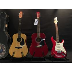 3 GUITARS: VANTAGE VS-5 ACOUSTIC GUITAR WITH HARD SHELL CASE, IBANEZ ACOUSTIC GUITAR, AND PEAVEY