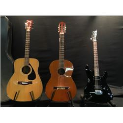 3 GUITARS: VINTAGE VENTURA MODEL V158 NYLON STRING GUITAR, MADE IN JAPAN, YAMAHA FG-335