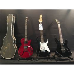 3 GUITARS: LTD KH-202 GUITAR WITH FLOYD ROSE STYLE LOCKING VIBRATO BRIDGE/NUT, TWO ESP PICKUPS, 24