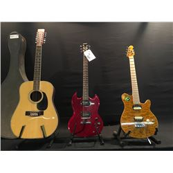 3 GUITARS: EPIPHONE SG SPECIAL, PEAVEY ERNIE BALL LIMITED EDITION ELECTRIC GUITAR WITH