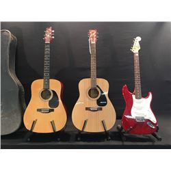 3 GUITARS: YAMAHA MODEL F310 ACOUSTIC GUITAR, MONTANA ACOUSTIC GUITAR WITH HARD SHELL CASE, AND