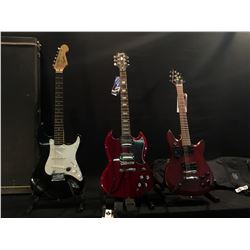 3 GUITARS: EPIPHONE SG, SQUIER M-80 WITH TWO HUMBUCKER PICKUPS, BUILT-IN TUNER AND SOFT SHELL CASE,
