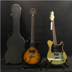2 GUITARS: PEAVEY EXP TELE STYLE GUITAR WITH TWO SINGLE COILS AND ONE HUMBUCKER PICKUP, AND