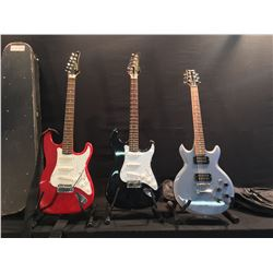 3 GUITARS: IBANEZ GAX70 ELECTRIC GUITAR WITH SOFT SHELL CASE, SAMICK STRAT STYLE ELECTRIC GUITAR,