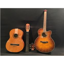 2 GUITARS, BROKEN: IBANEZ CUTAWAY ACOUSTIC/ELECTRIC, AND CHALLENGER NYLON STRING ACOUSTIC