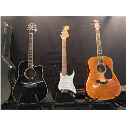 3 GUITARS: JASMINE BY TAKAMINE CUTAWAY ACOUSTIC/ELECTRIC GUITAR WITH HARD SHELL CASE, SQUIER STRAT,