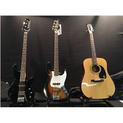 3 GUITARS: EPIPHONE DR 100 ACOUSTIC GUITAR WITH SOFT SHELL CASE, SAMICK J-BASS STYLE 4 STRING BASS