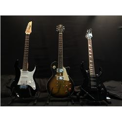 3 GUITARS: BEHRINGER METALIEN STRAT STYLE ELECTRIC GUITAR WITH BRIDGE POSITION HUMBUCKER AND