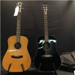 2 GUITARS: FENDER CD-100E ACOUSTIC/ELECTRIC GUITAR WITH FENDER SOFT SHELL CASE, AND