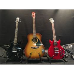 3 GUITARS: IBANEZ GIO DOUBLE CUT CONTOURED LES PAUL STYLE GUITAR WITH TWO HUMBUCKER PICKUPS AND