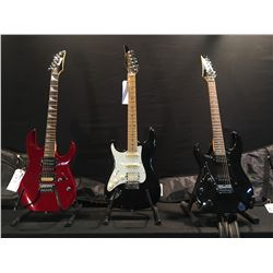 3 GUITARS: IBANEZ GIO LEFT HANDED STRAT STYLE GUITAR WITH TWO HUMBUCKER PICKUPS, VIBRATO BRIDGE AND