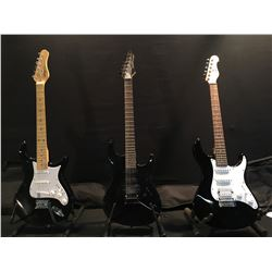3 GUITARS: YAMAHA EG 112C STRAT STYLE ELECTRIC GUITAR WITH BRIDGE POSITION HUMBUCKER AND SOFT SHELL