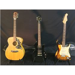 3 GUITARS: ARIA STG SERIES RELIC'ED STRAT STYLE ELECTRIC GUITAR WITH SOFT SHELL CASE, EPIPHONE LES