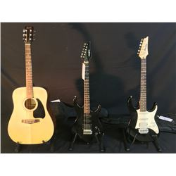 3 GUITARS: IBANEZ GIO STRAT STYLE ELECTRIC GUITAR WITH SOFT SHELL CASE, PROFILE STRAT STYLE GUITAR