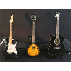 3 GUITARS: ELECA ACOUSTIC GUITAR WITH SOFT SHELL CASE, EPIPHONE LES PAUL SPECIAL II ELECTRIC