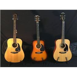3 GUITARS: EPIPHONE DR-100 ACOUSTIC GUITAR WITH SOFT SHELL CASE, HYBURN ACOUSTIC GUITAR, AND CIMAR